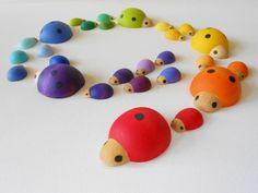 Handmade ladybug wooden sorting game