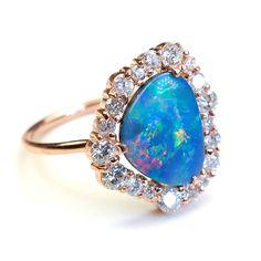 R E S E R V E D for R...Diamond Engagement Ring, Opal Engagement Ring, Engagement Ring, Opal Diamond Ring, Blue Opal, Rose Gold Ring via Etsy