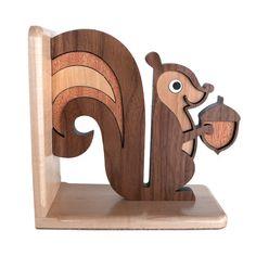 Squirrel Wooden Bookend Heirloom