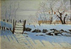 """Copia da """"La gazza"""" di Claude Monet- olio su cartone telato"""