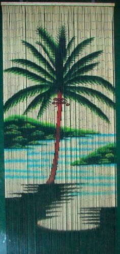 """Single Palm Tree Beaded Curtain 125 Strands (+hanging hardware) by ABeadedCurtain. $55.19. Truly a piece of hand painted artwork. Fits most doorways and windows. Also looks wonderful when hung on walls as beaded wall art.. Each bamboo curtain is 36"""" x 79"""" with 125 strands attached to a wooden hanging bar. Curtain contains approx. 4000 individually hand painted bamboo beads.. Currently the highest quality bamboo beaded curtain being manufactured.. Each bead is comple..."""