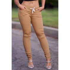 $17.70 Stylish Drawstring Solid Color Skinny Ripped Pants For Women