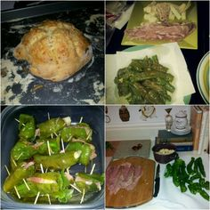 Pepper shooters and italian herb bread.. long hots sliced lengthwise sauteed in olive oil and red pepper flakes.. then rolled with prosciutto and sharp provolone... homemade italian herb bread using bread machine for the dough Herb Bread, Long Hots, Prosciutto, Flakes, Asparagus, Olive Oil, Rolls, Herbs, Stuffed Peppers