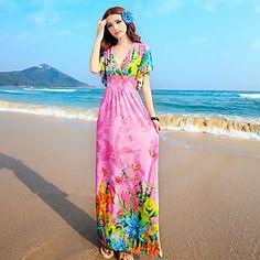 TS Bohemia Ruffle mangas delgado de la impresión floral de la playa vestido de Maxi (imprime al azar) – USD $ 20.29