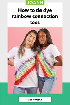 Looking for a rainbow connection? Try these matching tye dye tees. They're cute & colorful! Tie Dye Rainbow, How To Tie Dye, Rainbow Connection, Easy Diy Projects, Project Ideas, Creative Skills, Tye Dye, Joanns Fabric And Crafts, Holidays And Events