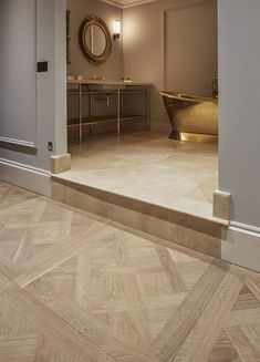 Intricately patterned wood floors are now very much on trend, and Design collates all the Havwoods' blocks which are perfect for the job Versailles Pattern, Herringbone Pattern, Master Bathroom, Floors, Tile Floor, Hotels, Wood, Design, Home Decor