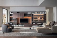 Looking for some inspiration for living room storage? Here we have listed some stylish shelving ideas for living room storage. Design Lounge, Design Loft, House Design, Design Homes, Cafe Design, Design Design, Design Living Room, Living Room Tv, Contemporary Interior Design