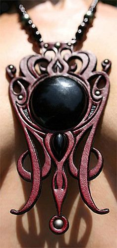 Venusian Soul ~ hand-carved 'n' tooled leather neckwear with onyx gemstones and semi-precious gemstone beads