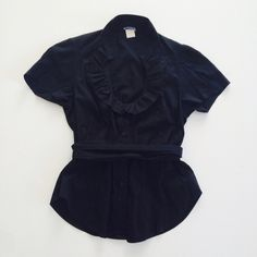 Odille blouse Black short sleeved blouse with round ruffled neckline and matching sash. Size 2. Anthropologie Tops Blouses
