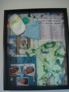 I wanted to capture my newborns early days..I created this shadow box as a way to preserve those memories. He spent some time in the NICU. It was important I incorporate his Bravery Bead chart and corresponding beads celebrating his accomplishments. I also included his first pictures, preemie diaper, booties, hat, binky, hospital bracelet, his going home outfit and a pic of him ready to go home. I used scrapbook paper as the background. Something I will forever cherish!