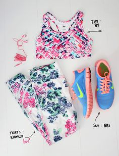 krist.in workout clothes röhnisch flowert tights H&M sports bra nike sneakers