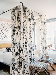Cheap Decorating Ideas: Recreate the look of an expensive looking canopy bed using ordinary curtain rods or household plumbing supplies.