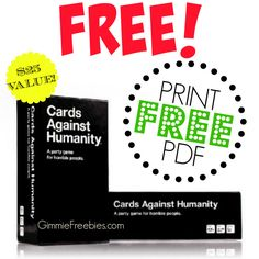 FREE Cards Against Humanity PDF Printable Card Came ($25 Value)