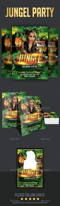 Jungle Party Feature :Easy customizable and editable 300 DPI CMYK Color profile 4x6   0.25 bleed area 100 Layered and Full Editable 1PSD file Print Ready Format Font Link includedFont Used LinkBebas https://www.fontsquirrel.com/fonts/BebasInfinite Stroke https://www.dafont.com/infinite-stroke.fontNote The images / photos is NOT INCLUDED and that this is only f