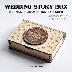 Wedding story box (storage box for usb flash drive). Box with sliding plate latch spring loaded. Project plan for laser cutting.