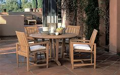 Get everything you need for a delightful outdoor entertainment setting. The Kingsley Bate Amalfi Round Dining Set is made out of machine Outdoor Wood Furniture, How To Clean Furniture, Outdoor Dining, Outdoor Tables, Outdoor Decor, Indoor Outdoor, Round Dining Set, Fine Dining, Home Design Magazines
