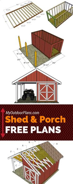 Shed Plans - Free shed with porch plans - Step by step instructions for you to l. - Shed Plans – Free shed with porch plans – Step by step instructions for you to learn how to bui - Wood Shed Plans, Free Shed Plans, Shed Building Plans, Storage Shed Plans, Shed Plans 12x16, Lean To Shed Plans, Building Homes, Building Ideas, The Plan