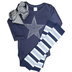 Infant / Toddler / Baby Long or Short sleeve, Cowboys Star Clear Crystal Rhinestones on a Navy/Grey Bodysuit with bow and leg warmers.