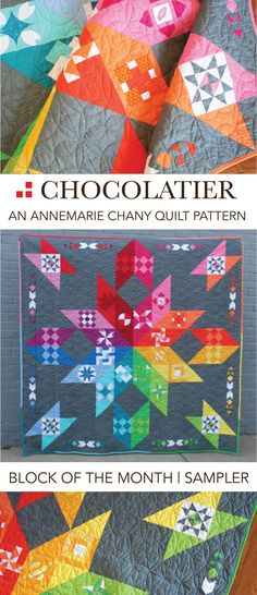 Skittles version of the Chocolatier Block of the Month Pattern by AnneMarie Chany   Modern Quilt Pattern   Sampler   Solids