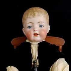Antique-German-Boy-Doll-Kammer-Reinhardt-127-Molded-Hair-Solid-Dome-Toddler-Body
