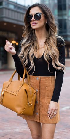 #fall #outfits / leather skirt + black longsleeve top