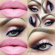 Pink eyeshawdow and pink lips