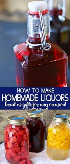 How to Make Homemade Liquors or homemade brandy. This homemade fruit brandy reci… How to Make Homemade Liquors or homemade brandy. This homemade fruit brandy recipe is so easy & makes excellent gifts for the holidays or any occasion. via Kleinworth & Co. Summer Drinks, Cocktail Drinks, Fun Drinks, Cocktail Recipes, Liquor Drinks, Bourbon Drinks, Alcoholic Drinks, Drink Recipes, Cocktail Gifts