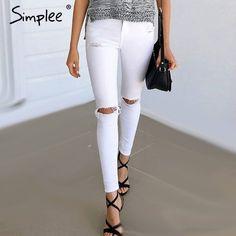 Simplee Zomer stijl wit gat gescheurde jeans Vrouwen jeggings cool denim hoge taille broek capri Vrouwelijke zwarte skinny casual jeans
