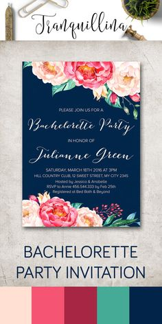 Bachelorette Invitation, Floral Bachelorette Party Invitation Printable, Hens Night Party Invitation, Navy & Pink Bachelorette Invite, Watercolor Floral Wedding Invitations. For more modern and elegant invitations follow the link: tranquillina.etsy.com