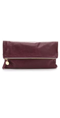 burgundy fold over clutch by @Clare Vivier