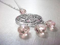 Silver & Pink Swarovski Filigree Necklace by arianaalysedesigns, $30.00
