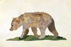 California State animal made of old maps of California - great!