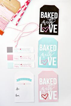 Baked with Love Printable Valentine Treat Tags - Attach to small treats like cookies and other baked goods. Perfect for friends and neighbors!