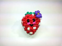 Rainbow Loom - 3D Happy STRAWBERRY Charm. Designed and loomed by Ellen Carpenter at feelinspiffy. Click photo for YouTube Tutorial. 07/15/14.