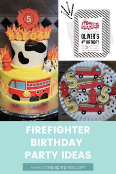 The best ideas for hosting a Firetruck Birthday Party for kids. Firefighter birthday party ideas including invitations, cookies, cake, outfits, and decorations. 1st Birthday Party Themes, Party Themes For Boys, Birthday Invitations Kids, Special Birthday, Happy Birthday Banners, Boy Birthday, Firefighter Birthday, Firetruck, Party Ideas