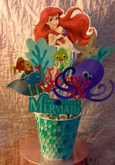 DIY The Little Mermaid Party Decoration! Made by Julia Martinez Little Mermaid Centerpieces, Little Mermaid Decorations, Disney Centerpieces, Birthday Party Centerpieces, 4th Birthday Parties, 3rd Birthday, Mermaid Theme Birthday, Little Mermaid Birthday, Little Mermaid Parties