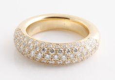 CHOPARD 18K Yellow Gold and White Diamond Wedding Band Ring 6.25