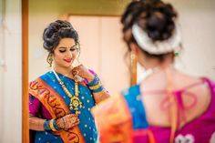 Image may contain: 1 person Marathi Bride, Desi Bride, Bride Look, Indian Wedding Bride, Indian Wedding Photos, Saree Wedding, South Indian Bride Hairstyle, Indian Bridal Hairstyles, Bride Hairstyles