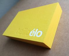 Amazing Hello Elo business card template, with cute white/yellow color scheme and letterpress finish. Logo Design, Graphic Design Branding, Print Design, Uv Lack, Letterpress Business Cards, Print Finishes, Typography Logo, Logos, Flyer
