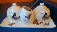 Set matero personalizado con bombre, mariposas y flores delicadas, horneado en nuestro taller