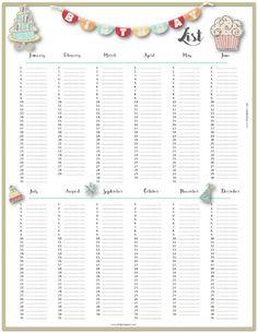 Pretty Birthday Calendar Template  Decoration
