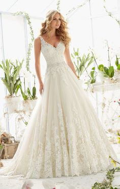 2821 dress (A-line, V-Neck, Straps, Sleeveless ) from Mori Lee: Bridal 2016, as seen on dressfinder.ca. Click for Similar & for Store Locator.