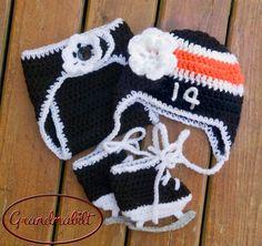 BABY HOCKEY GIRLS Hat Diaper Cover and Skates Black by Grandmabilt