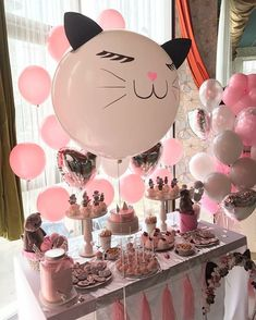 first birthday decorations ideas 16th Birthday Decorations, 1st Birthday Banners, Girl Birthday Themes, Girl First Birthday, Birthday Cake For Cat, 22nd Birthday, Animal Birthday, Birthday Parties, Kitten Party