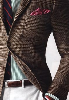 Stripes, houndstooth, printed pocket square...but I think it works