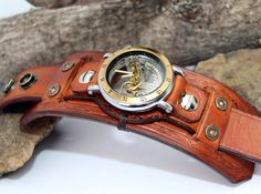 Handmade Genuine Leather Cuff Watch with Shotgun Shell Rivets, Leather Cuff with Tourbillon Watch, Saddle Tan Leather Cuff, Steampunk Watch