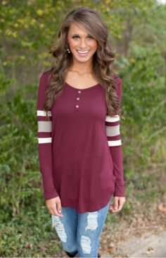 Wine O Neck Patchwork Long Sleeve Cotton Top – Piper and Hollow