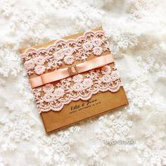 Coral Lace Wedding Invitation Burlap Wedding by eryastudio on Etsy