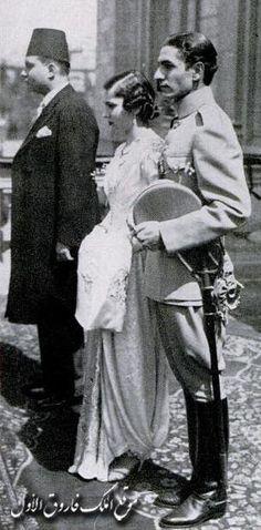 الاميرة  فوزية و  شاة  ايران و  الملك  فاروق في شرفة  قصر عابدين