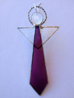 Stained Glass Ornament - Purple Angel via Etsy